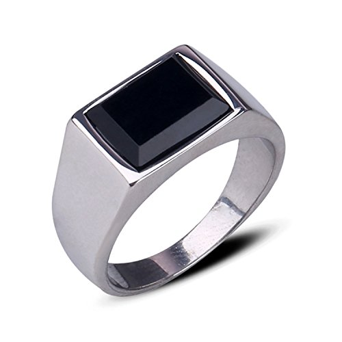 Z&X Jewelry Men's Retro Rings Stainless Steel Black Onyx Signet Ring Silver Size 9 -