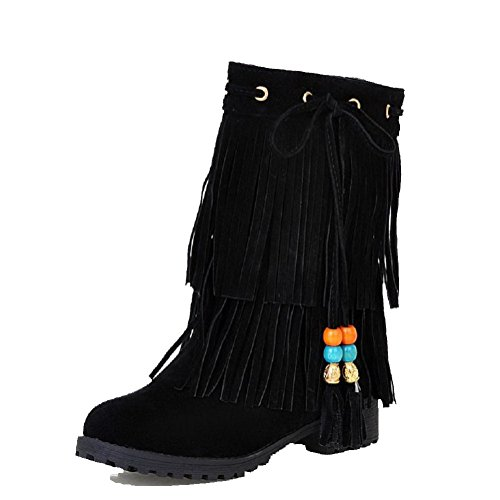 Low Imitated Suede AmoonyFashion Women's Low Solid Pull Heels Top On Boots Black Zp7q8WX4q
