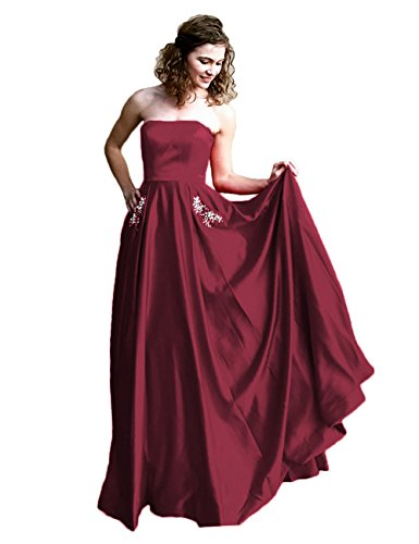 Libaosha Satin Strapless Formal Gowns With Beaded Pockets Lace Up Back Prom Dresses Long (US8, (Red Satin Strapless Dress)