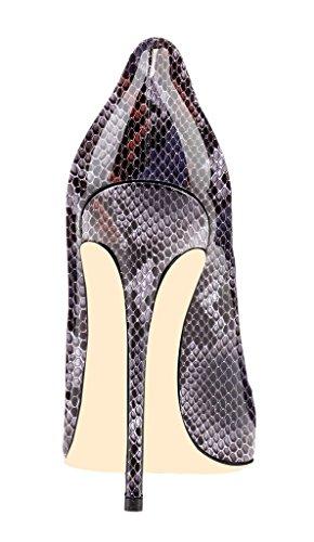ELASHE Women High Heels Pumps | Pointed Toe Cut Out Stiletto | 12cm Classic Elegante Court Shoes 1#Python-Purple C7Z0H