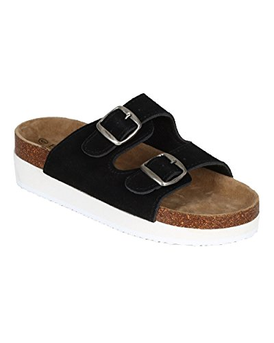Two Dumas Pierre Women Suede Sandal Tone Creeper Buckle Toe Black Flatform CA38 Open Double dxAfxrYw