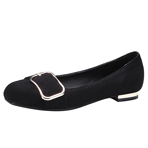 Carolbar Women's Lovely Concise Flat Buckle Square Toe Loafer Shoes Black l7iAIDucPq