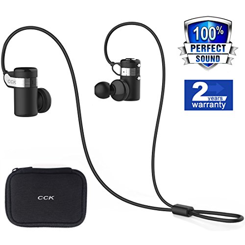 Bluetooth Headphones CCK KS Wireless Earbuds Sports Best Running Earphones Hi-Fi Stereo Noise Cancelling Sweatproof for Gym Workout Exercising Fashionable In Ear Headsets Computer iphone Android Black
