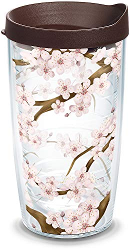 Tervis 1041201 Cherry Blossom Tumbler with Wrap and Brown Lid, 16oz, Clear