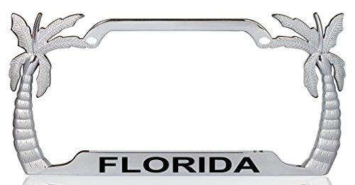 (FLORIDA Palm Tree Design Chrome Metal License Plate Auto Tag Frame)