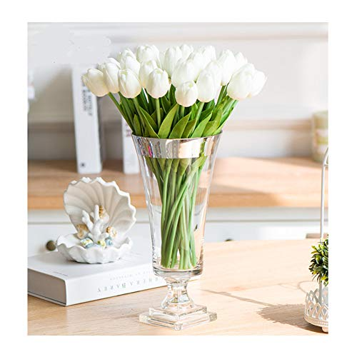 (SHINE-CO LIGHTING Single Stem Real PU Touched Artificial Tulips 10 Pcs Arrangement Bouquet with Glorious Moral for Home Office Wedding Parties (White))