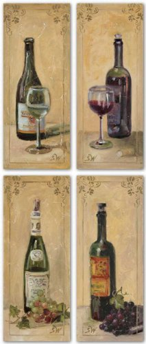 "White and Red Wine With Grapes and Glass Set (Four Prints) by Shari White 4""x10"" Art Print Poster Art Poster Print by Shari White, 4x10 Art Poster Print by Shari White, 4x10 Art Poster Print by Shari White, 4x10"