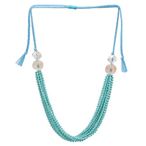 El Allure Preciosa Jablonex Seed Bead Teal and Silver Japanese Cut Dana Trendy Handmade Fine Bangle for Women. ()