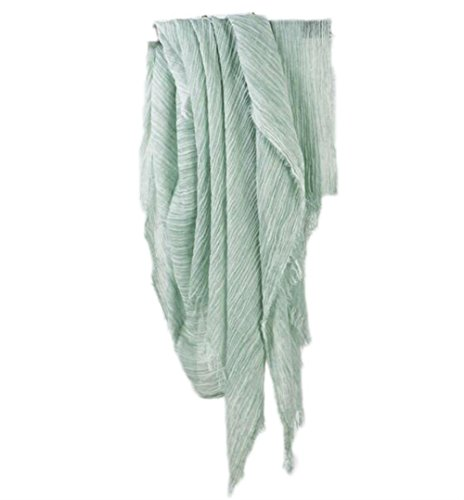 - Women Men Cotton Linen Soft Light Evening Scarf Shawl Wrap Casual (Green)
