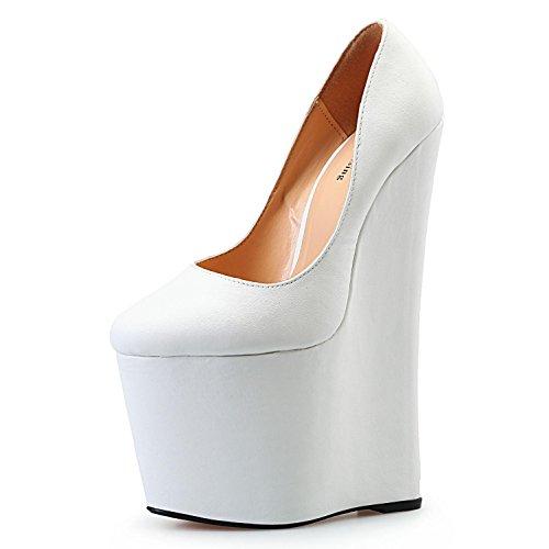 L@YC Femmes Talons Hauts PU Summer Club Chaussures Sandales Wedge Talon Boucle Pour la Robe de Soirée et Soirée Noir Rouge white hOIHB