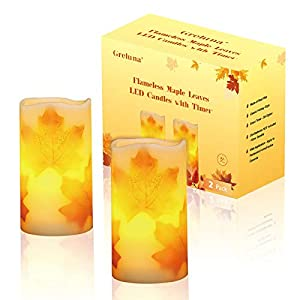 Best Epic Trends 41dBjXinuQL._SS300_ Greluna Flameless Maple Leaf Candles, Fall Flameless Candles with Timer for Thanksgiving Decorations and Gift, Set of 2