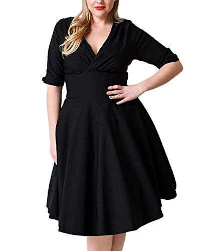 Nemidor Women's Vintage 1950s Style Sleeved Plus Size Swing Dress (16W, Black)