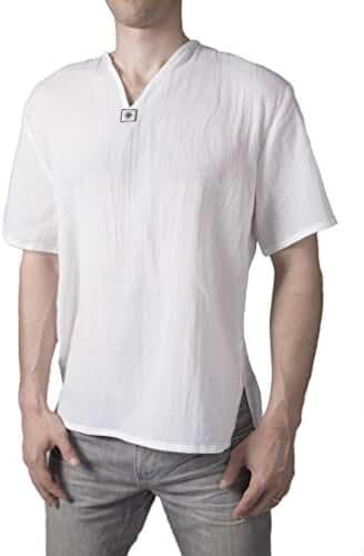 Lofbaz Men's T-Shirt 100% Natural Cotton Thai Hippie Shirt Yoga Top V-Neck