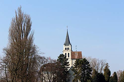 Home Comforts Canvas Print Romanshorn Schlossberg Landscape Steeple Church Vivid Imagery Stretched Canvas 10 x 14