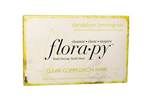 Florapy Beauty Clear Complexion Sheet Aromatherapy Mask, Dandelion Lemongrass, 5 Count