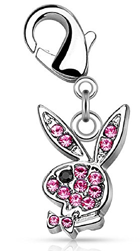 Body Accentz CZ Paved Playboy Bunny with Lobster Claw for Belly rings, Bracelets and More -