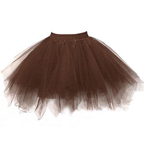 [Ellames Women's Vintage 1950s Tutu Petticoat Ballet Bubble Dance Skirt Chocolate L/XL] (Plus Size Ballerina Costumes)