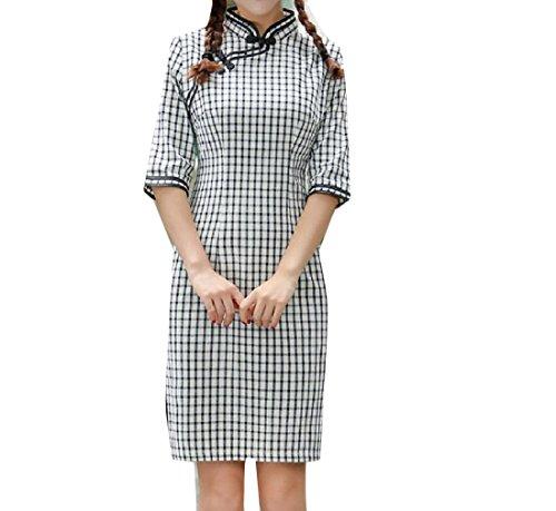Femmes Confortables Solide Coupe Courte Mince À Carreaux Soirée Chinoise Qipao Motif1