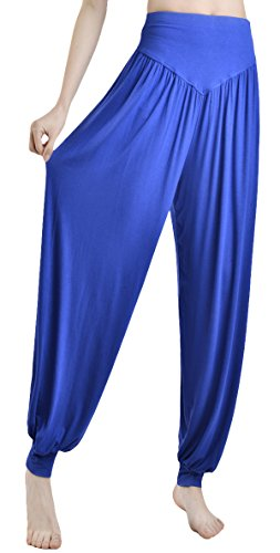Urban CoCo Womens' Solid Color Soft Elastic Waistband Fitness Yoga Harem Pants (X-Large, Blue) -