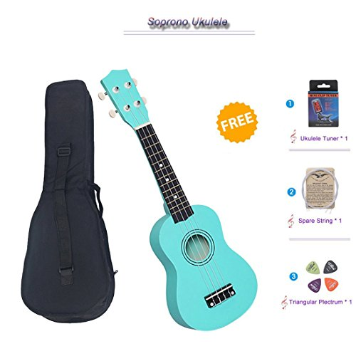 NOT HOME® 21 Soprano Ukulele with a Carrying Bag and a Digital Tuner, Specially Designed for Kids, Students and Beginners (Light Green)