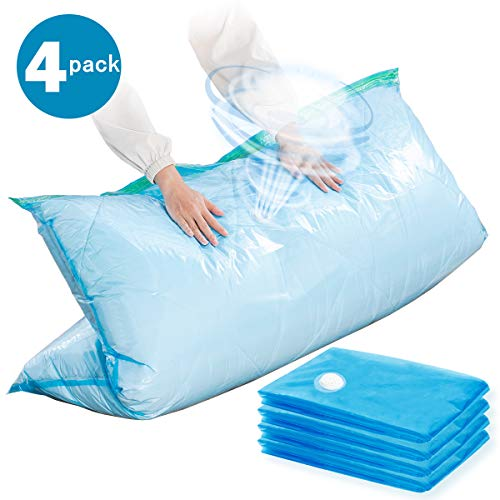 Vacuum Storage Bags-4Pack, 80% More Storage, Space Saver Bags for Bedding, Pillows, Towel, Blanket, Clothes (Super Jumbo-4 Pack) 47