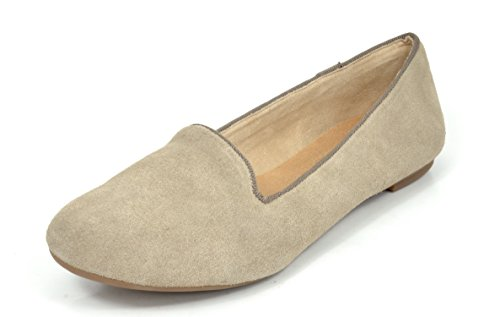 DREAM PAIRS Slip-Ease Women's Casual Solid Plain Ballet Comfort Suede Slip On Flats Shoes Nude Size 9