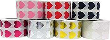 Heart Stickers For Valentine's Day Crafting Scrapbooking 7 Different Colors Red Pink White Black Metallic Rose Metallic Silver Metallic Gold 1/2 Inch 7,000 Total Stickers