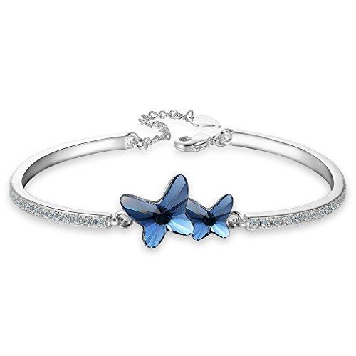 Bangle Rhinestone Swarovski (EleQueen Women's Silver-tone CZ Butterfly Love Bangle Bracelet Denim Blue Adorned with Swarovski Crystals)