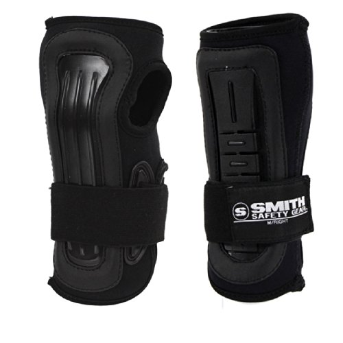 Pro Wrist Roller - Smith Safety Gear Scabs Pro Wrist Stabilizer, Black/Black, Medium