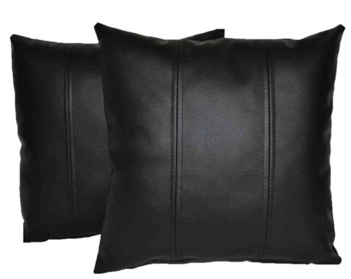 (Leather Lovers 100% Lambskin Leather Pillow Cover - Sofa Cushion Case - Decorative Throw Covers for Living Room & Bedroom - Black - 20x20)