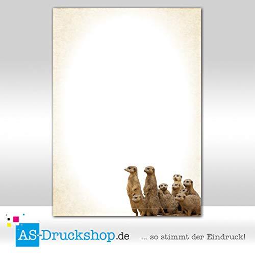 25 Blatt//DIN A5 90 g-Offsetpapier Motivpapier Tiere Familie Erdm/ännchen