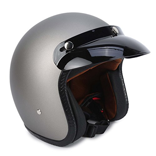 Gray Motorcycle Helmet (3/4 Fiberglass Moped Open Face Scooter Bobber Motorcycle Helmet (S, Gray))