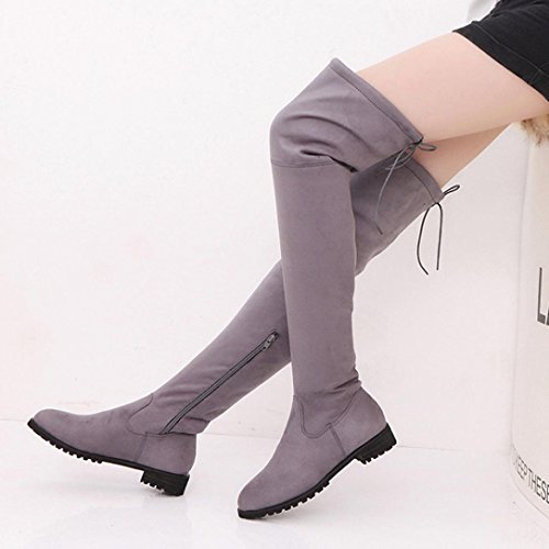 Over Buckle Flat Slim Ladies Boots The Knee Trim Fashion Hot Boots Women Womens High Shoes Yanhoo Grey wpYqSwzx4