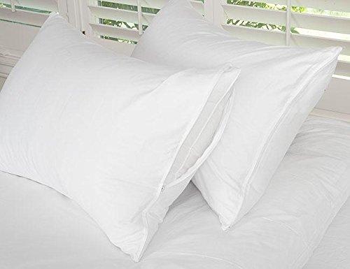 Cotton Zippered Pillow Protector Pair White/European Square