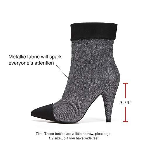 9d44ff2c191 MACKIN J 239-1 Women Ankle High Cone Heel Cap Pointed Toe Mesh Booties  Boots(7.5, Gun)