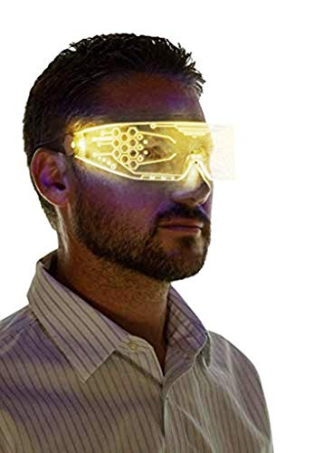 Neon Nightlife LED Light Up Glasses, Single Lens Tron Style, Yellow