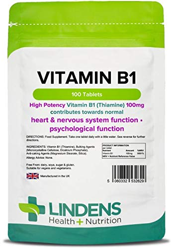 Lindens Vitamina B1 tiamina 100 mg en comprimidos | 100 Paquete | Comprimidos superfuertes con un. Haz clic para obtener una vista ampliada