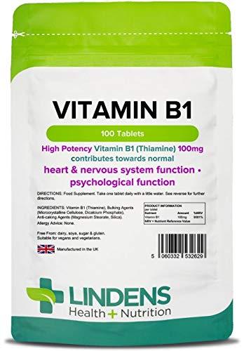 Lindens Vitamina B1 tiamina 100 mg en comprimidos | 100 Paquete | Comprimidos superfuertes con un