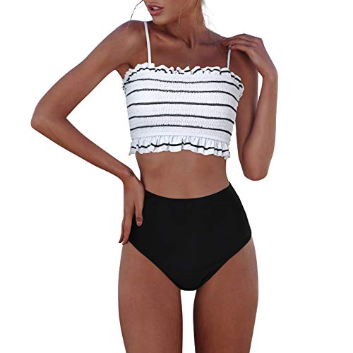 Shirred Bandeau Swimsuit - RXRXCOCO Womens Shirred Bandeau Bikini Cute Two Piece Swimsuit Off Shoulder High Waist Bathing Suit White Small