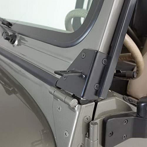 RAMPAGE PRODUCTS 7609 Black Windshield Hinge Light Bracket for 1976-1995 Jeep CJ & Wrangler YJ - Pair