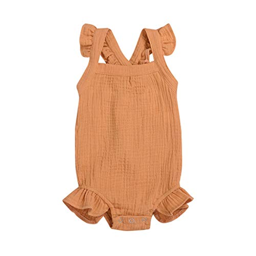 Baby Girls Lace Romper Ruffle Sleeve Solid Color Onesie 2019 Yellow -