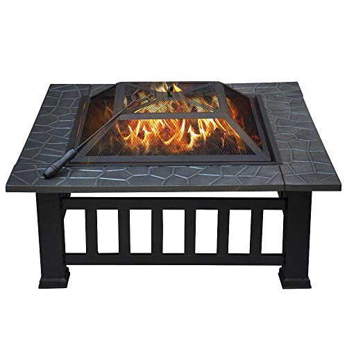 Yaheetech 32 Outdoor Metal Firepit Square Table Backyard Patio Garden Stove Wood Burning Fire Pit with Spark Screen, Log Poker and Cover