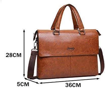 Briefcase Full Leather Laptop Bag for 14 Inch Vintage Satchel Shoulder Bag with Detachable Strap HTDZDX Messenger Bag for Men Color : Black