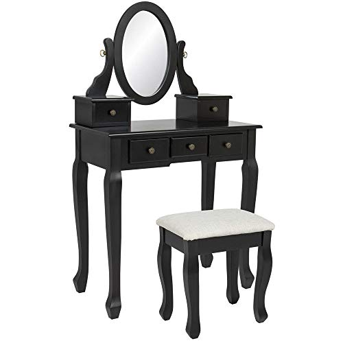 Chic Lovery 4289 Black MDF Wood Elegant 5 Drawer 1 Mirror Vanity Makeup DressingTable 1 Cushion Stool Storage Case Vintage Queen Anne Style Legs Home Decor Jewelry Cosmetic Beauty Supplies Bedroom