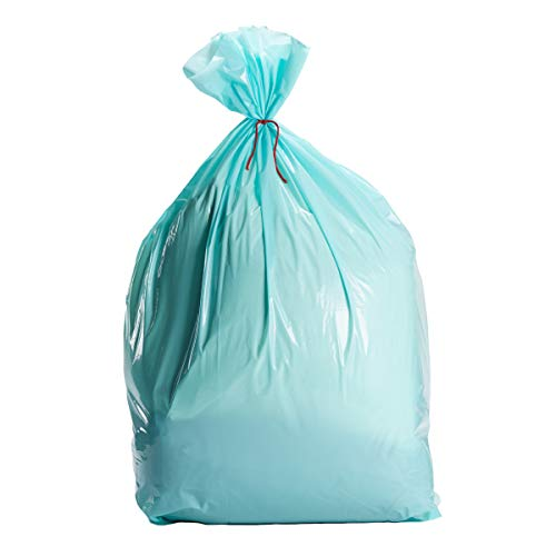 Light Teal Large Gift Bags - 6-Pack Jumbo Blue Green Plastic Sack for Wrapping Oversized Gifts, 36 x 48 Inches, Includes Red String -