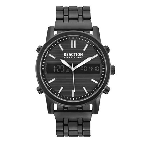Kenneth Cole REACTION Men's ANA-Digit Quartz Watch with Stainless-Steel Strap, Black, 22 (Model: RK50549004)