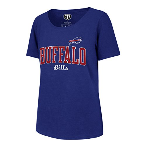 NFL Buffalo Bills Women's OTS Slub Scoop Tee, Distressed Thinned - Royal, Large