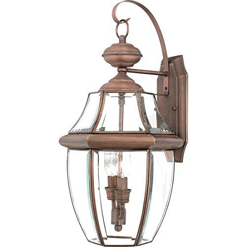 (Quoizel NY8317AC Newbury Outdoor Wall Lantern Wall Mount Lighting, 2-Light, 120 Watts, Aged Copper (20