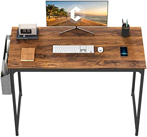 "CubiCubi Study Computer Desk 40"" Home Office Writing Small Desk, Modern Simple Style PC Table, Black Metal Frame, Deep Brown"
