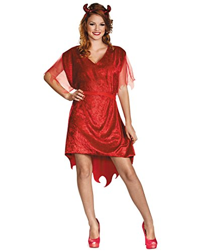 [Disguise Women's Adjustable Devil Costume, Red, Large (12-14)] (Devil Halloween Costumes For Women)